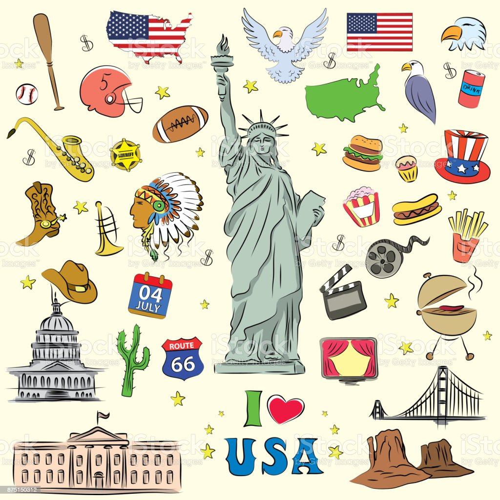 I love the United States, a set of characters, icons, objects. d vector art illustration