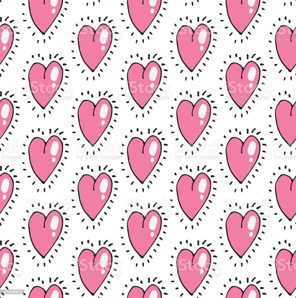 Love Theme Hearts Valentines Day Seamless Pattern Wallpaper