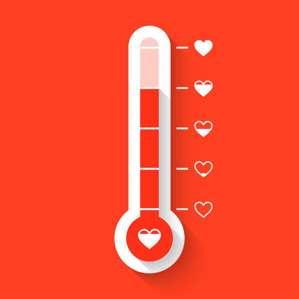 Love thermometer Love thermometer Valentines Day card idea. Vector illustration with transparent effect, eps10. meter instrument of measurement stock illustrations