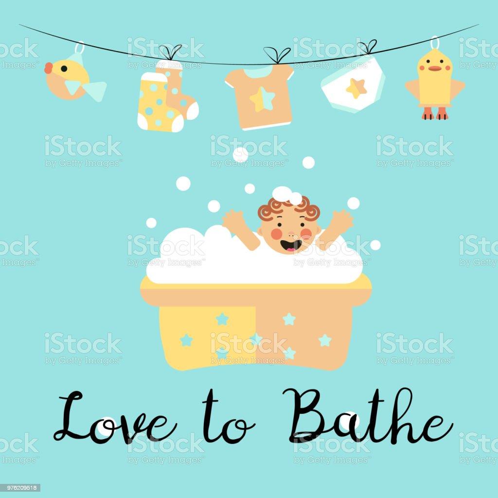 Liebe Es Zu Baden Stock Vektor Art Und Mehr Bilder Von Baby
