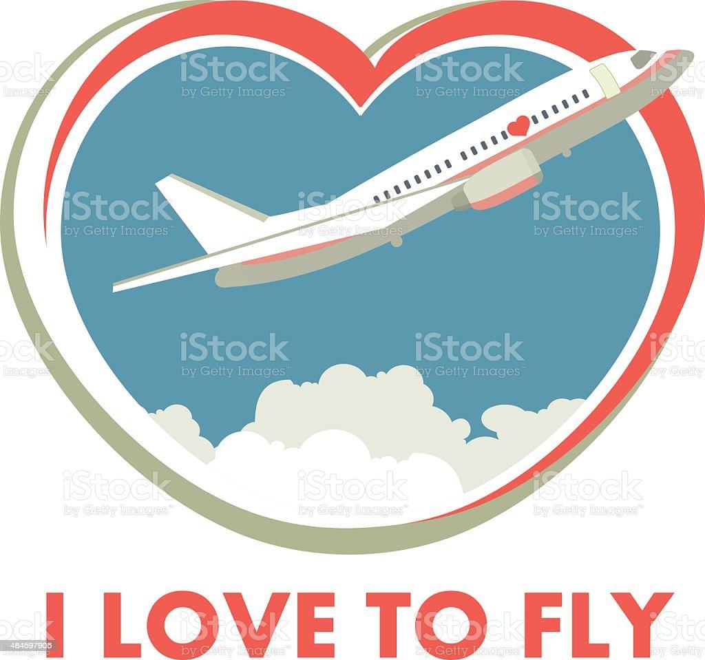 Me encanta fly (Estacione y Vuele - ilustración de arte vectorial