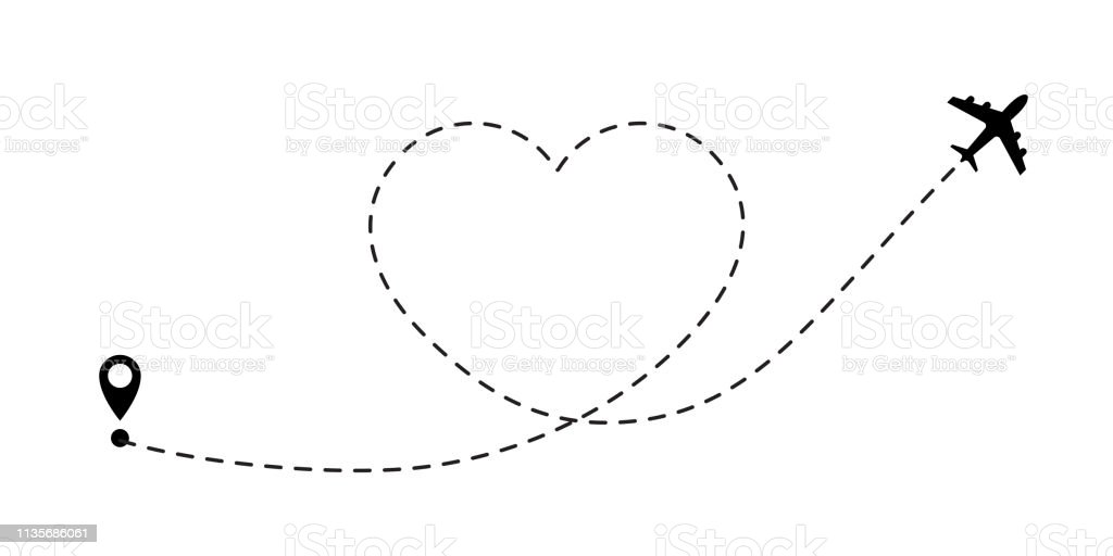 Love travel route. Airplane line path vector icon of air plane flight...