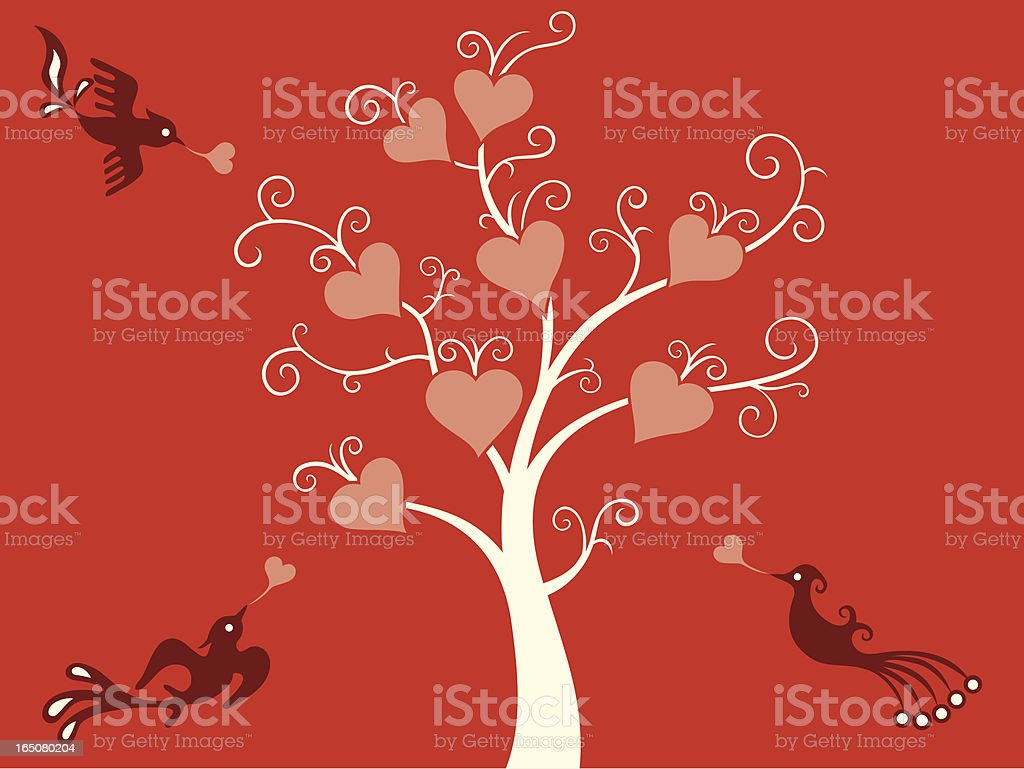 Love Tree & Birds Delight royalty-free stock vector art
