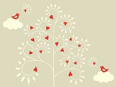 Vector Illustration of birds and a love tree.