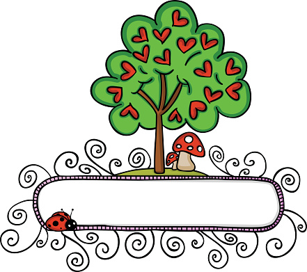 Love tree with hearts and a banner