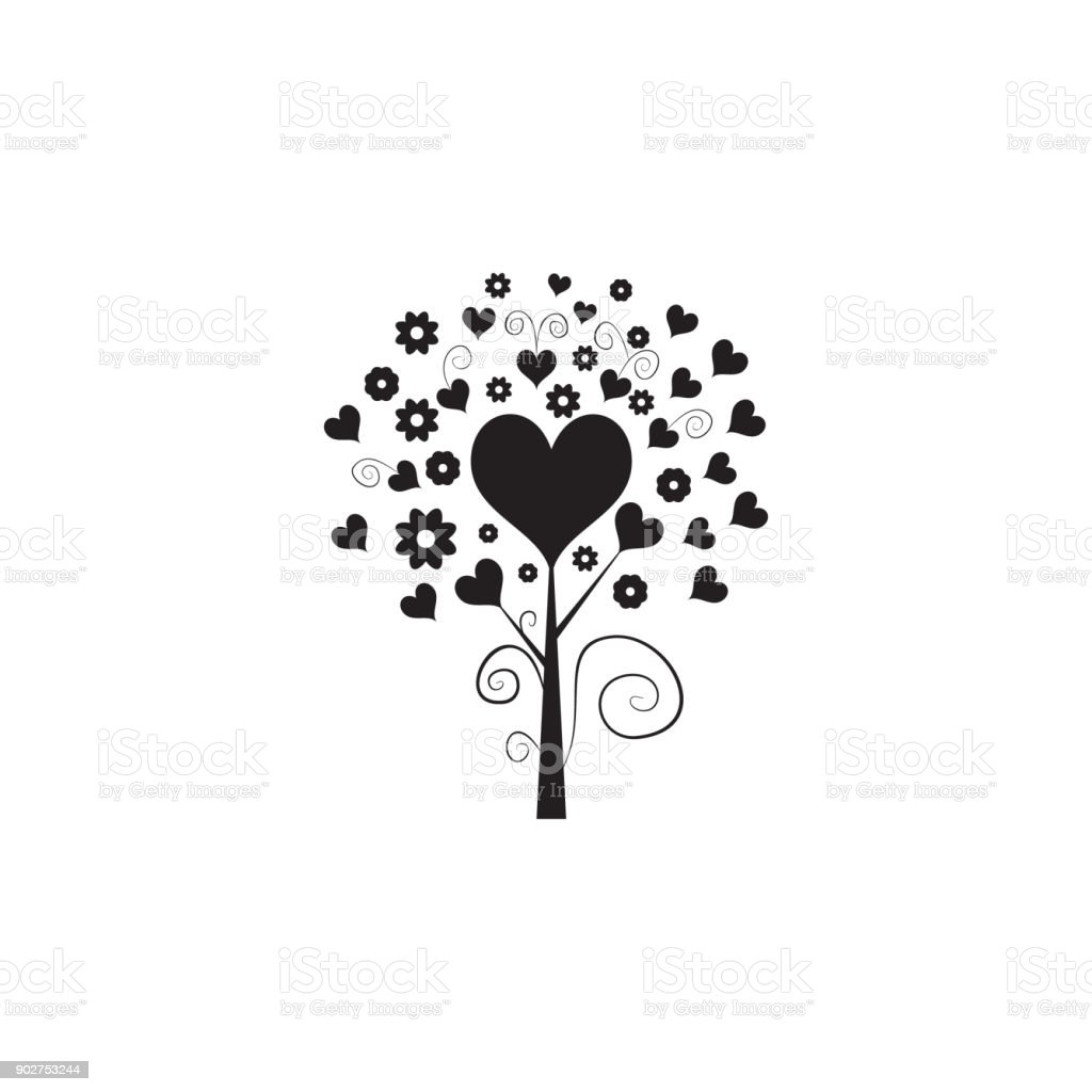 Love Tree With Hearts Icon Valentines Day Elements Premium Quality