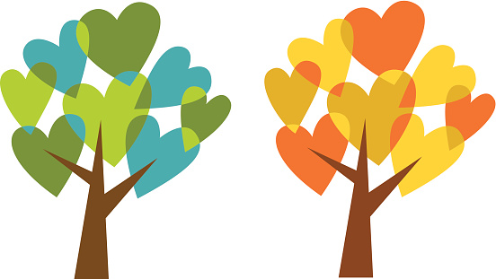 Love trees:  spring and fall