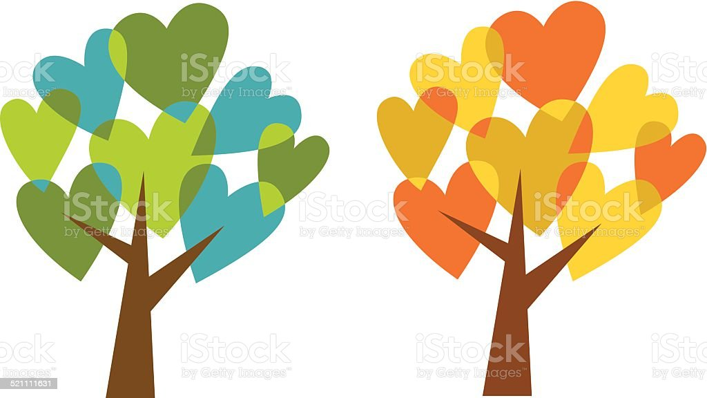 Love trees:  spring and fall vector art illustration