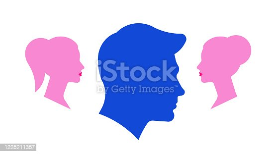 istock Love triangle. Silhouettes of a man and two women. The concept of a love triangle. Stock vector illustration. 1225211357