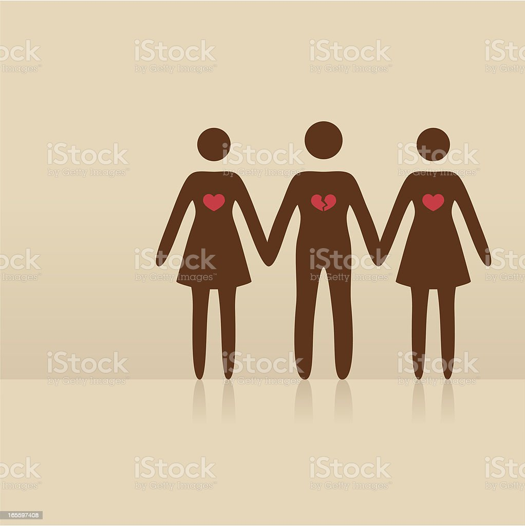 love triangle vector art illustration