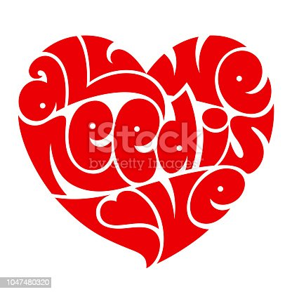 Love typography. All we need is love. Heart typography. Psychedelic style lettering.
