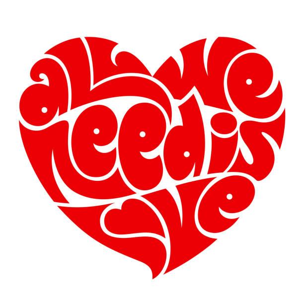 stockillustraties, clipart, cartoons en iconen met hou van typografie. alles wat we nodig hebben is liefde. - hippie