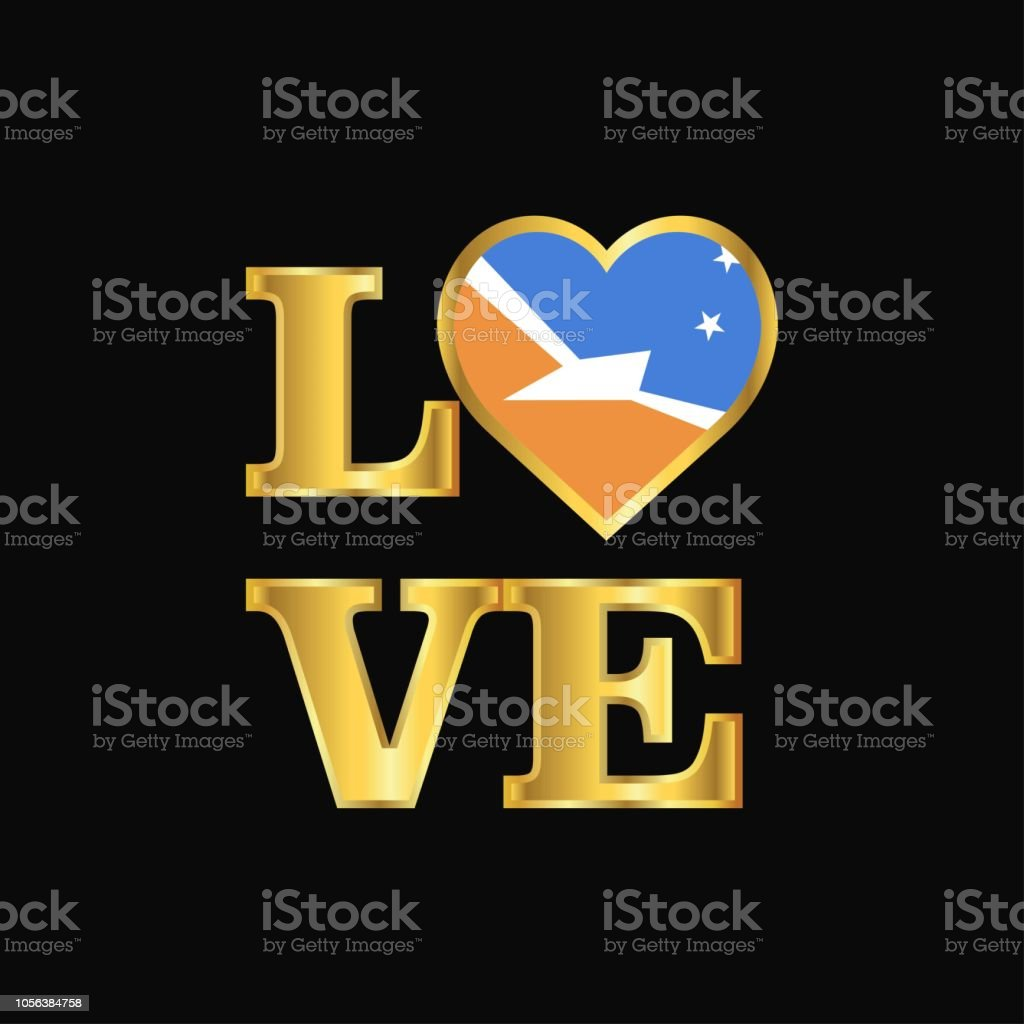 Love typography Tierra del Fuego province Argentina flag design vector Gold lettering