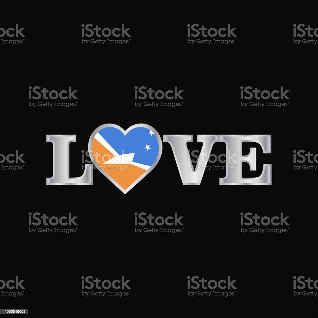 Love typography with Tierra del Fuego province Argentina flag design vector