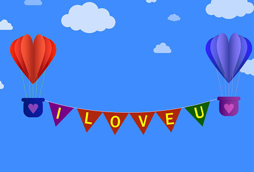 I love u typography with flying love air balloons vector illustration