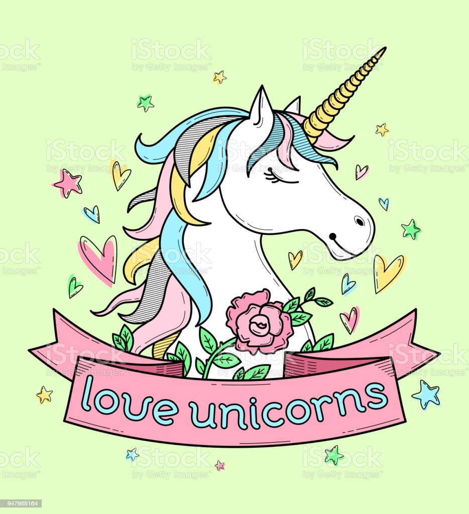 Love unicorns vector art illustration