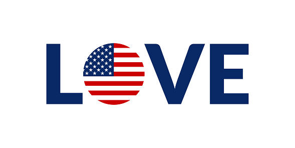 Love USA design with American flag. US patriotic logo, sticker or badge. Typography design for T-shirt graphic. Vector illustration.