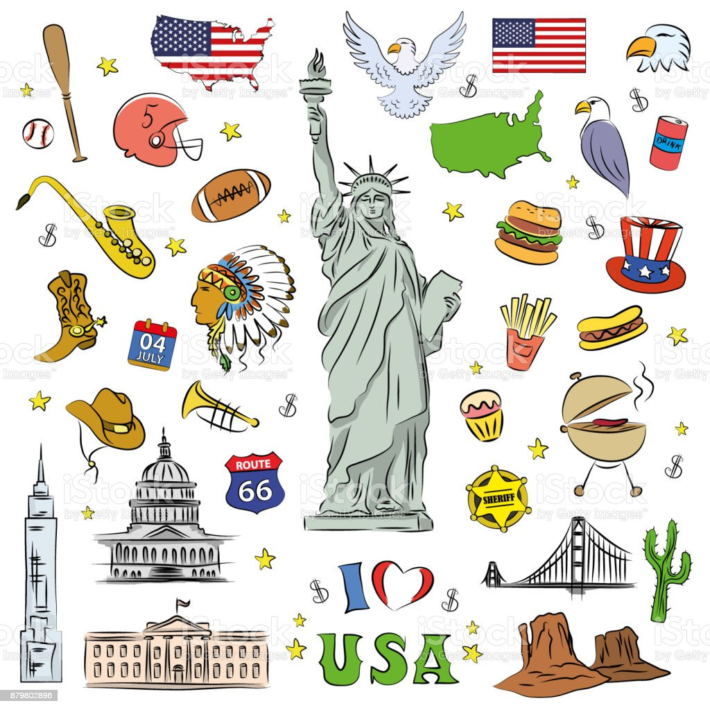 I love USA . Hand drawn doodle elements, objects or icon vector art illustration