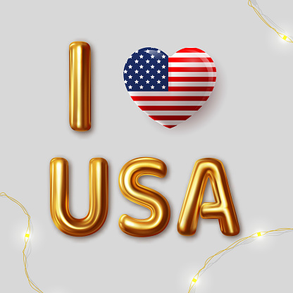 I Love USA. Vector inscription gold letters on a gray background