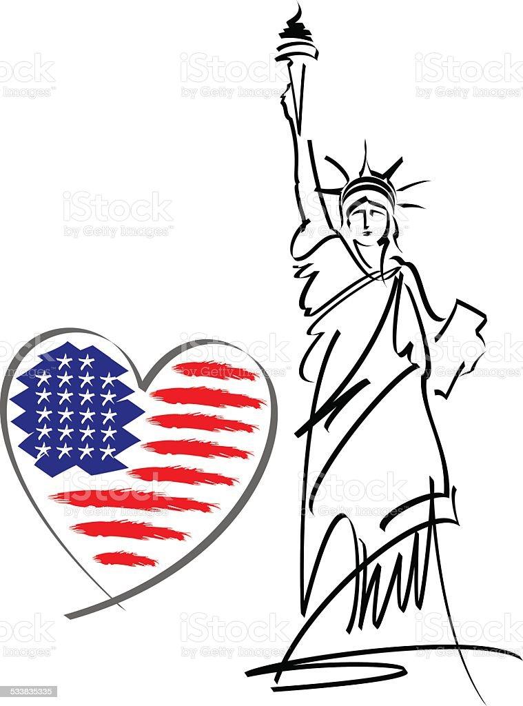 I love USA vector vector art illustration