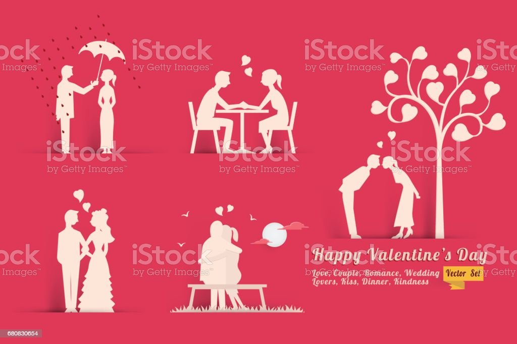 Love Valentine Day concept set - Illustration vectorielle