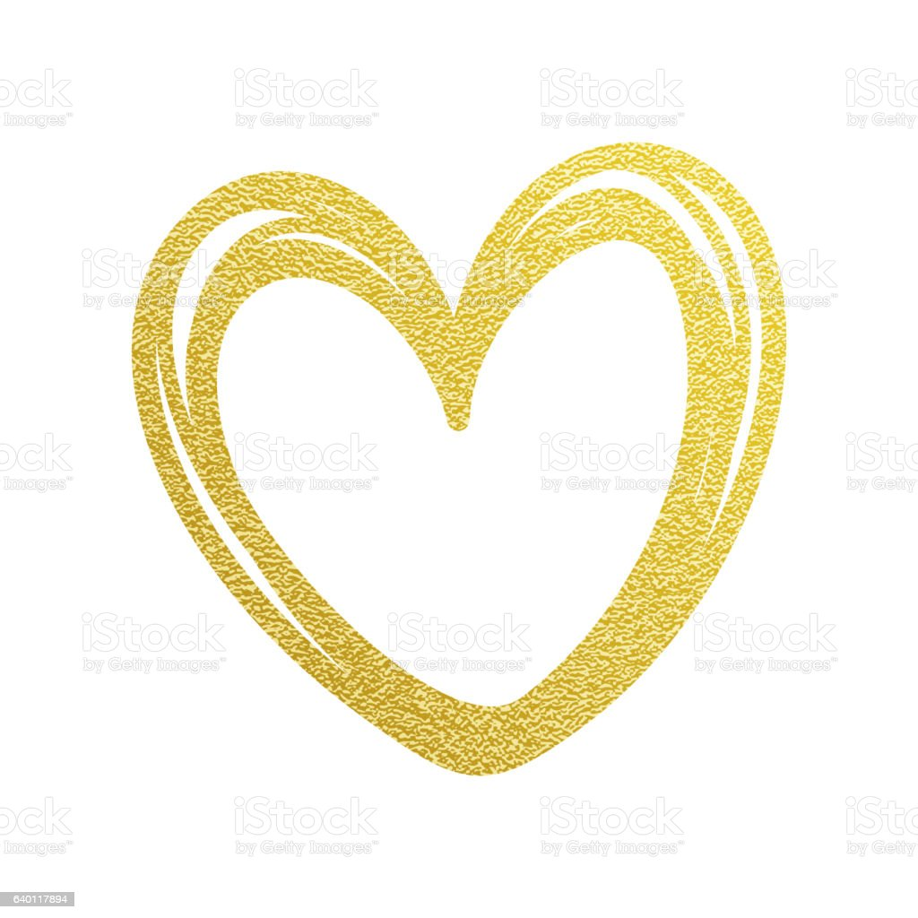 Love Valentine Heart Gold Glitter Vector Stock ...