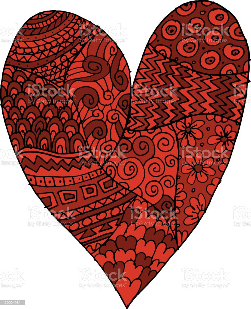 love valentine heart sketch for your design stock vector art