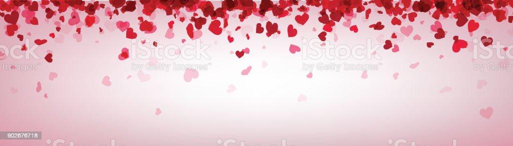 Ilustración de Banner De San Valentín Con Corazones De Color Rosa De ...