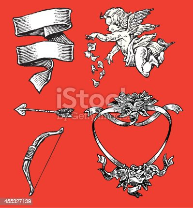 istock Love - Valentines Cherub, Arrow, Heart of Roses, Ribbon 455327139