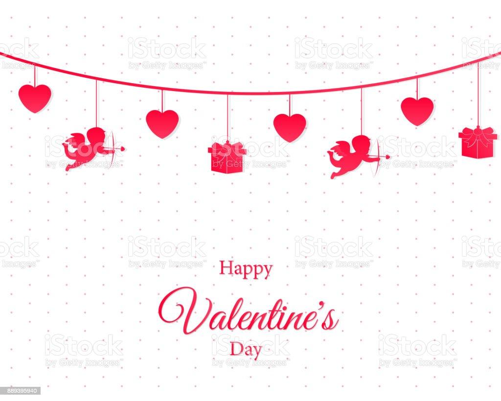 Schön Liebe Valentinstag. Karte Hintergrund. Lieben Sie Konzeptdesign.  Vektor Herz Mit Text