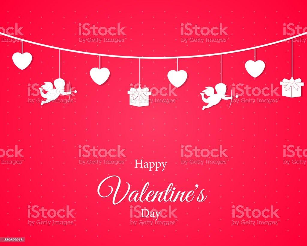 Liebe Valentinstag. Karte Hintergrund. Lieben Sie Konzeptdesign.  Vektor Herz Mit Text