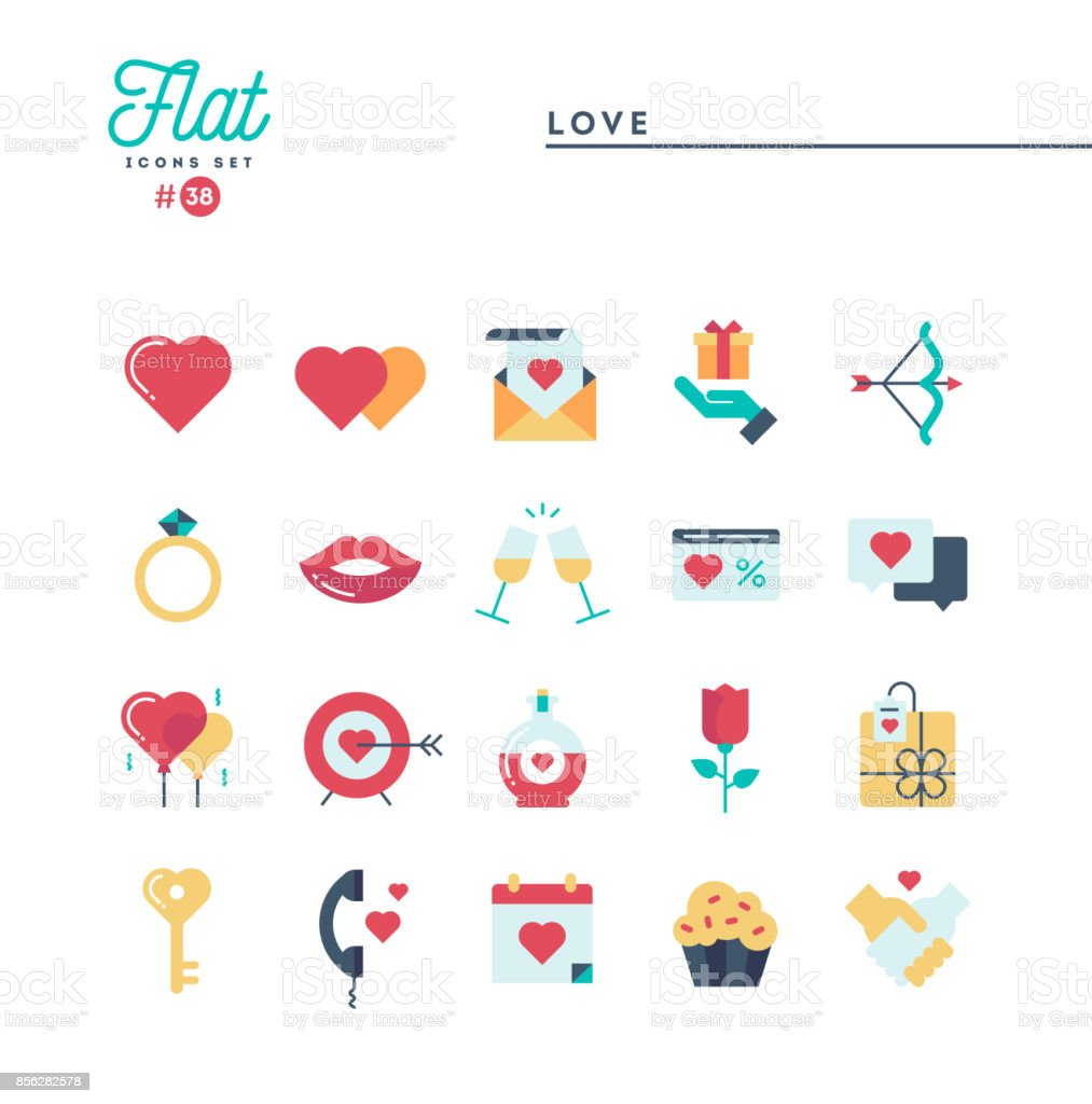Amor, Valentín día, citas, romance y los iconos más, planos conjunto - ilustración de arte vectorial