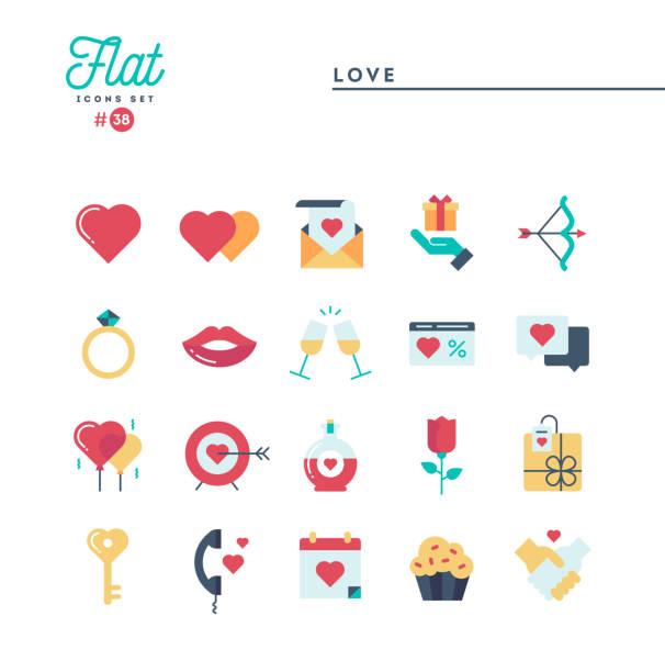 ilustraciones, imágenes clip art, dibujos animados e iconos de stock de amor, valentín día, citas, romance y los iconos más, planos conjunto - calendario de flores