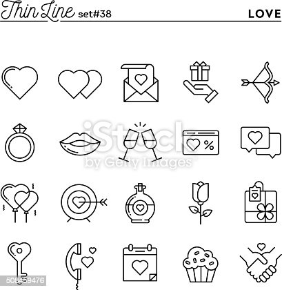 Love, Valentine's day, dating, romance and more, thin line icons set, vector illustration