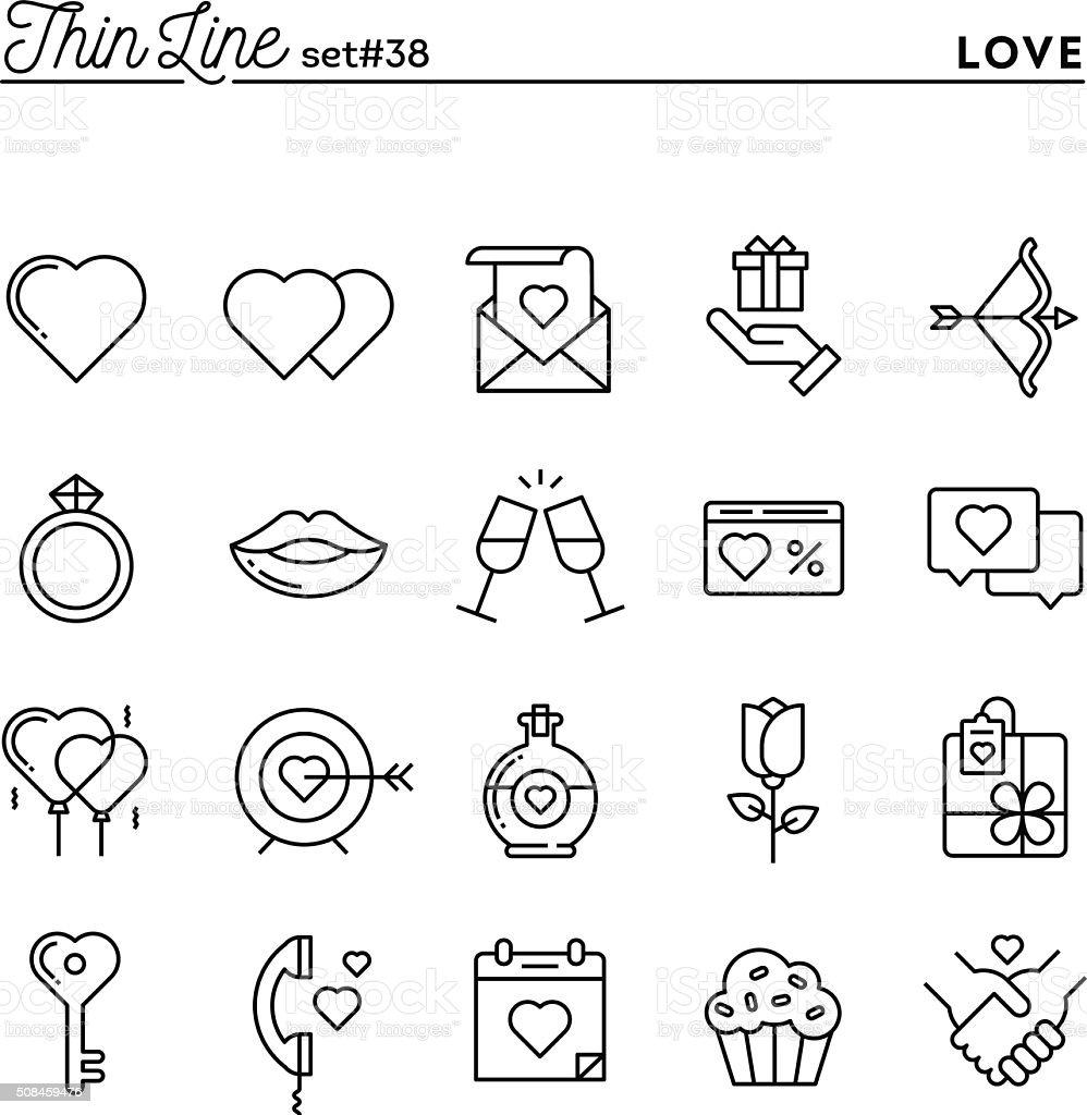 Amor, día de San Valentín, que data, Romance y más delgada de iconos de línea - ilustración de arte vectorial