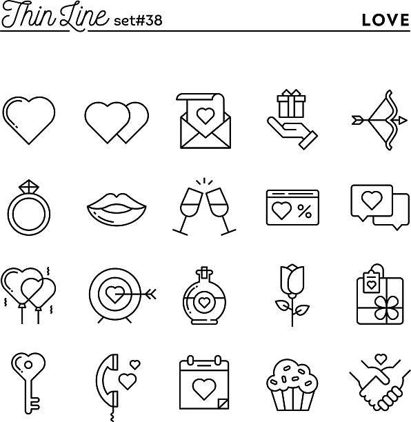 ilustraciones, imágenes clip art, dibujos animados e iconos de stock de amor, día de san valentín, que data, romance y más delgada de iconos de línea - calendario de flores