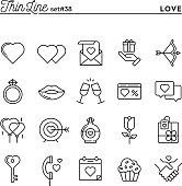 Love, Valentine's day, dating, romance and more, thin line icons