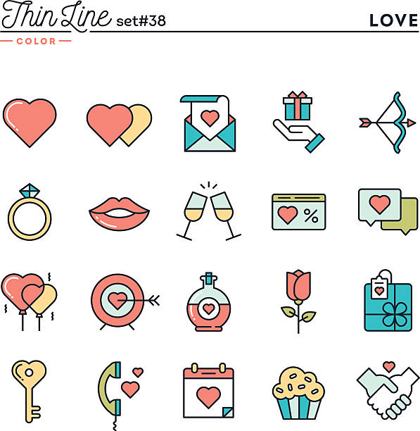 Love, Valentine's day, dating, romance and more Love, Valentine's day, dating, romance and more, thin line color icons set, vector illustration flirting stock illustrations