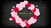 Love valentine's day square template included golden happy valentine's day text