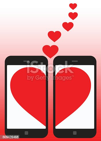 Love on Smartphone. Global colour used