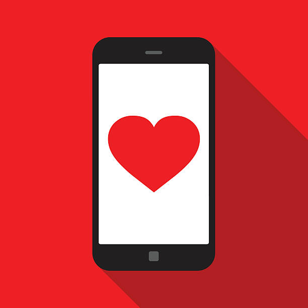 Love Love on Smartphone. Global colour used online dating stock illustrations
