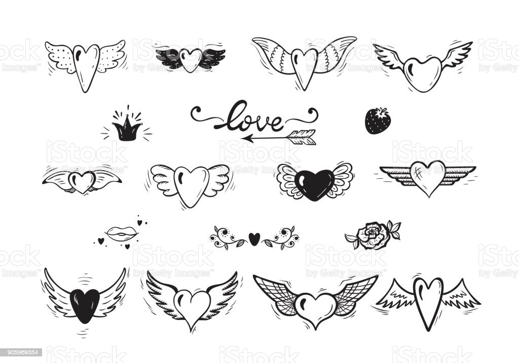 87c4133bb Beautiful Doodle Heart tattoo. Hearts with Wings for Valentines Day or  Wedding greeting cards. Hand drawn illustration - Illustration .