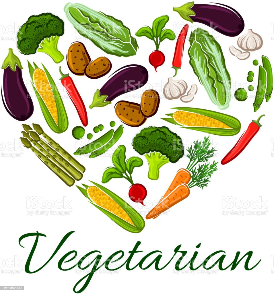 I Love Vegetarian Life Symbol Of Heart Vegetables Stock Vector Art