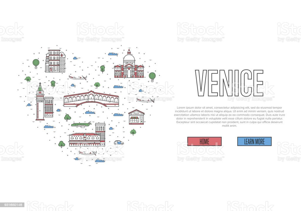 I love Venice poster in linear style vector art illustration