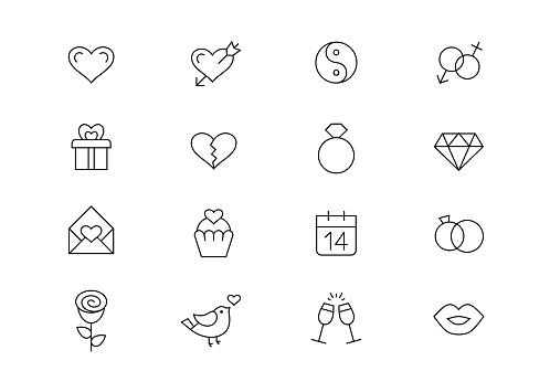 Love, wedding, St. Valentine's Day thin line vector icons. Editable stroke