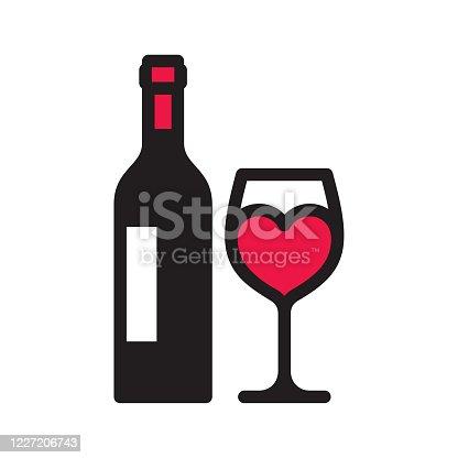istock Love wine icon 1227206743