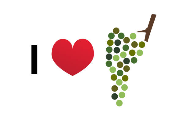 I love wine vector icon I love wine – vector icon of modern green wine grapes icon with red heart. Icon for winery, wine bar, vineyard or wine lovers. champaign illinois stock illustrations