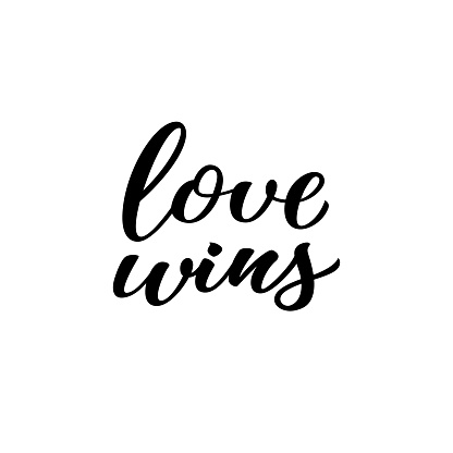 Love wins hand drawn lettering quote. Homosexuality slogan isolated on white. LGBT rights concept. Modern ink illustration for poster, placard, invitation card, t-shirt print design.