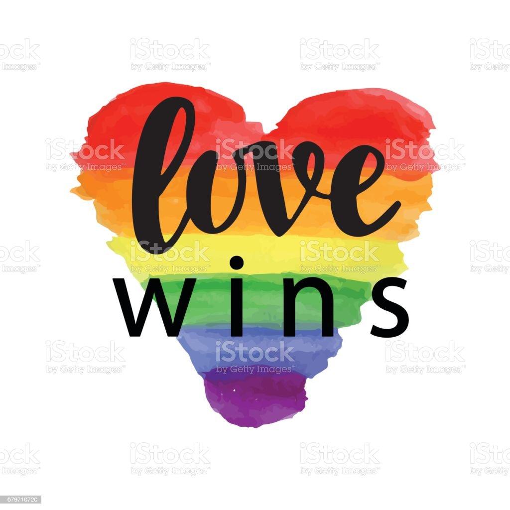 Love wins. Pride slogan vector art illustration