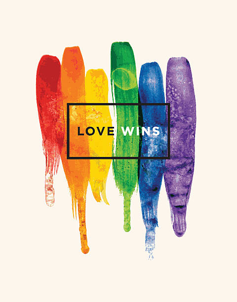 Love wins Conceptual vector watercolor poster design with rainbow colors gay person stock illustrations